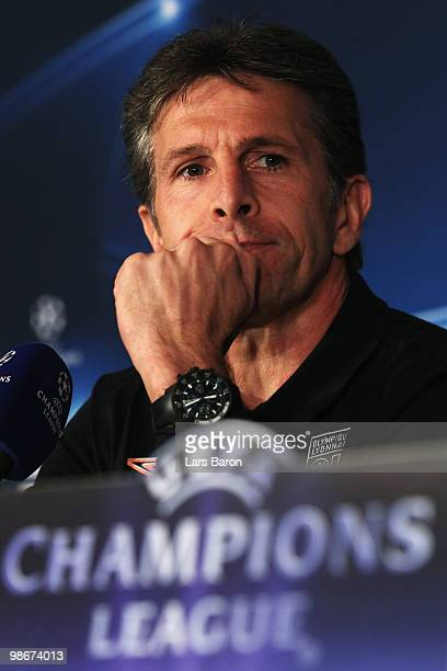 Head coach Claude Puel looks on during an Olympique Lyonnais press conference at Stade de Gerland on April 26 2010 in Lyon France Lyon will play...