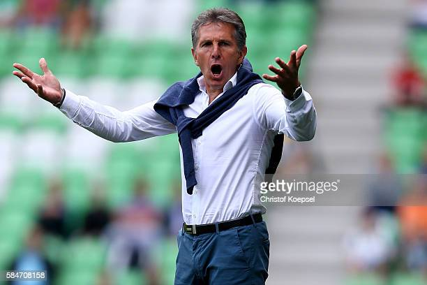 Head coach Claude Puel of Southampton shouts during the friendly match between FC Groningen an FC Southampton at Euroborg Stadium on July 30 2016 in...