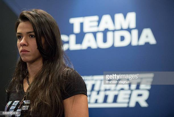 Head coach Claudia Gadelha watches as Amanda Cooper warms up before facing Jamie Moyle during the filming of The Ultimate Fighter Team Joanna vs Team...