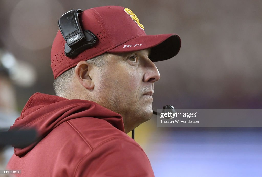 Head coach Clay Helton of the USC Trojans looks on from the sidelines against the Stanford Cardinal during the Pac-12 Football Championship Game at Levi's Stadium on December 1, 2017 in Santa Clara, California. The Trojans won the game 31-28.