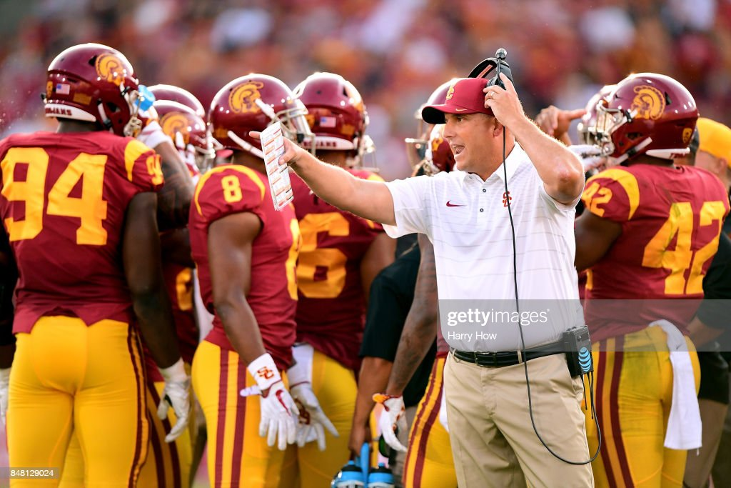 Head coach Clay Helton of the USC Trojans reacts to a goal line stance by the Texas Longhorns needing video review during the first quarter at Los Angeles Memorial Coliseum on September 16, 2017 in Los Angeles, California.