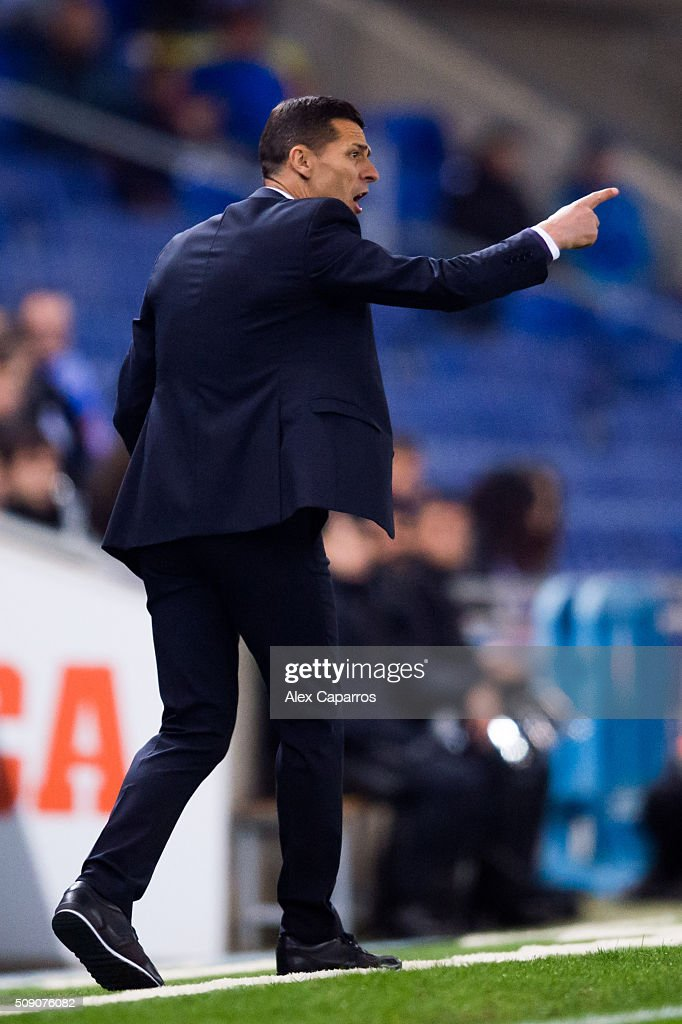 Head coach Constantin Galca of RCD Espanyol gives instructions during the La Liga match between RCD Espanyol and Real Sociedad de Futbol at Cornella-El Prat Stadium on February 8, 2016 in Barcelona, Spain.