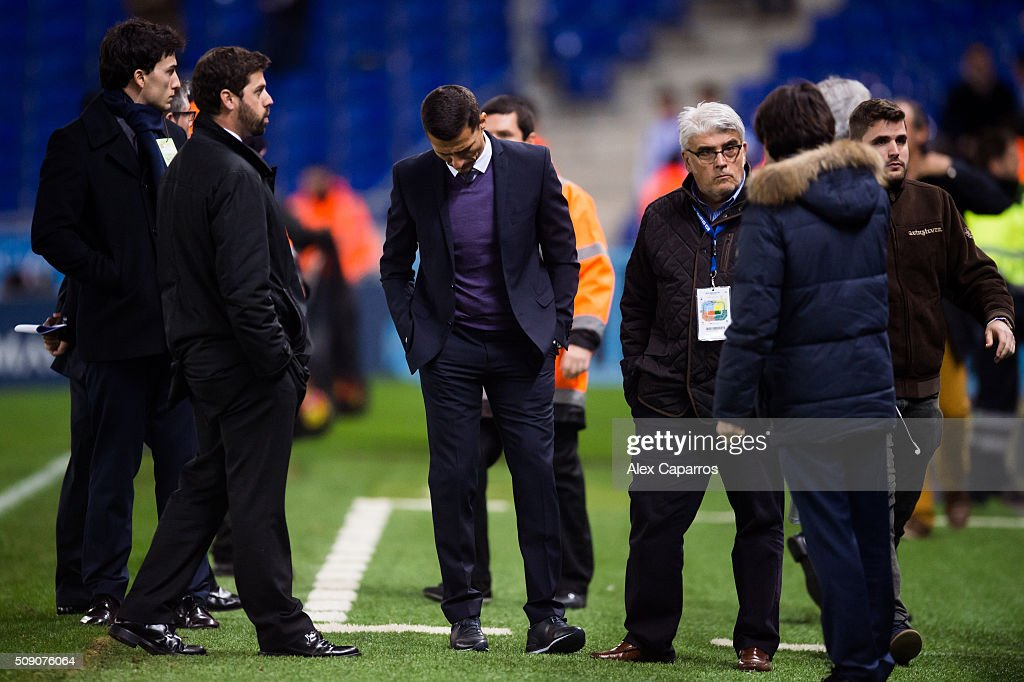 Head coach Constantin Galca of RCD Espanyol looks dejected after the La Liga match between RCD Espanyol and Real Sociedad de Futbol at Cornella-El Prat Stadium on February 8, 2016 in Barcelona, Spain.