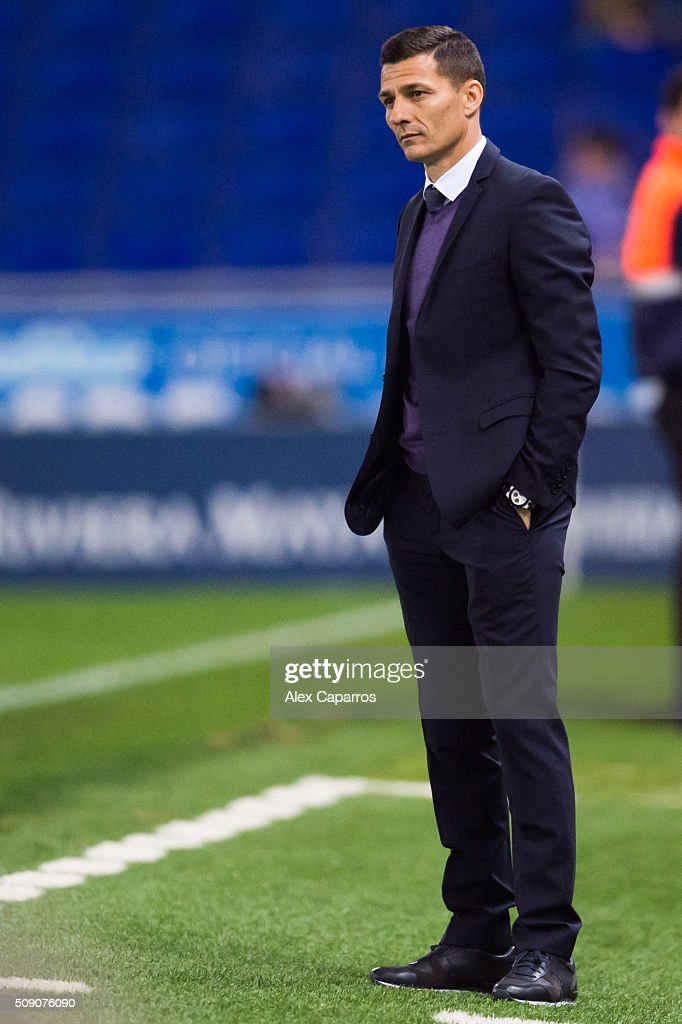 Head coach Constantin Galca of RCD Espanyol looks dejected during the La Liga match between RCD Espanyol and Real Sociedad de Futbol at Cornella-El Prat Stadium on February 8, 2016 in Barcelona, Spain.