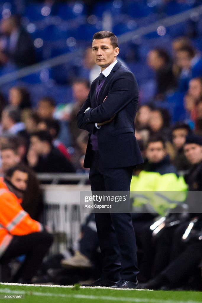 Head coach Constantin Galca of RCD Espanyol looks on during the La Liga match between RCD Espanyol and Real Sociedad de Futbol at Cornella-El Prat Stadium on February 8, 2016 in Barcelona, Spain.