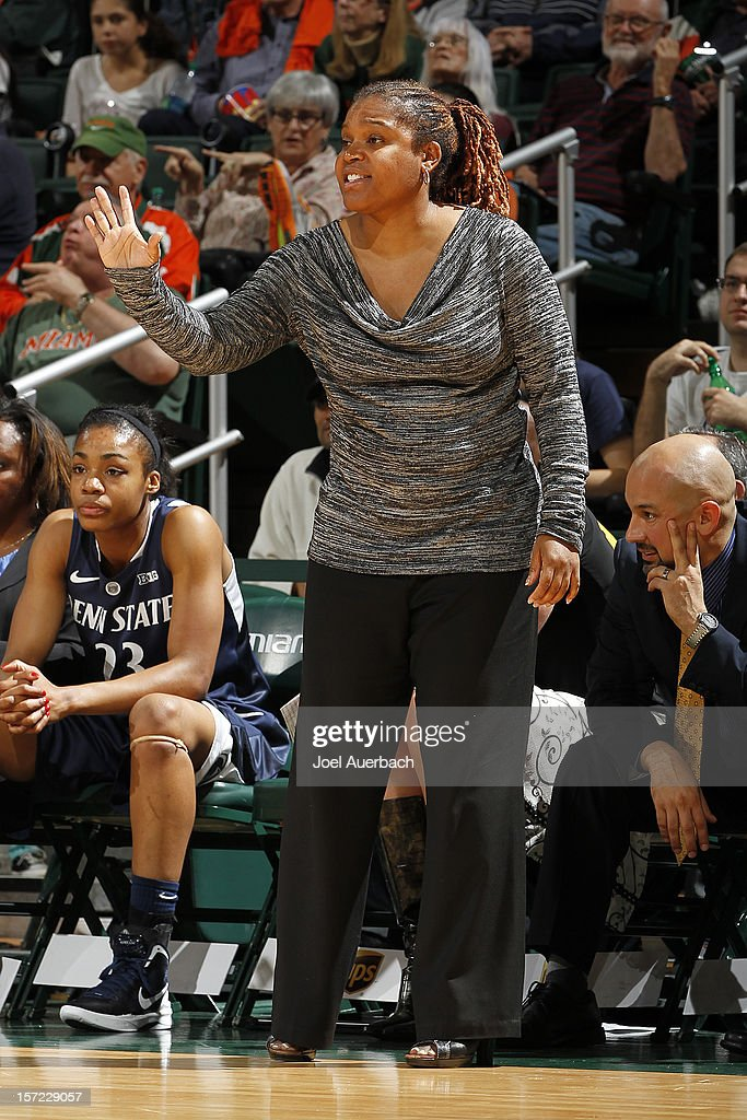 Head coach Coquese Washington of the Penn State Lady Lions reacts to action against the Miami Hurricanes on November 29, 2012 at the BankUnited Center in Coral Gables, Florida. Miami defeated Penn State 69-65.