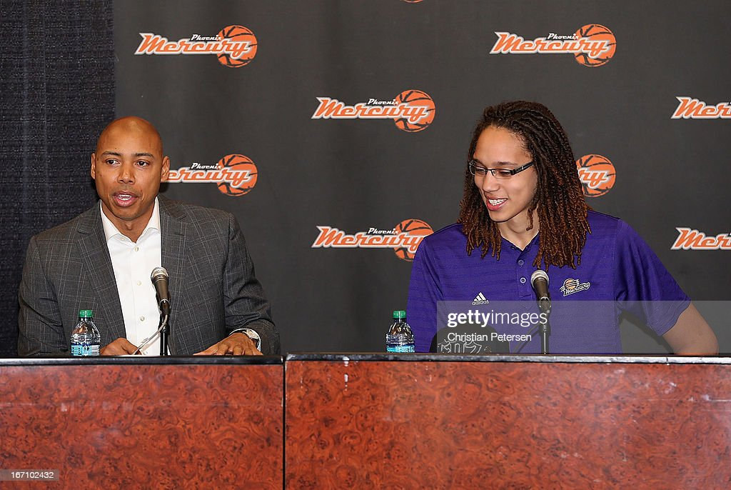 Head coach Corey Gaines of the Phoenix Mercury speaks, alongside Brittney Griner, during a press conference after Griner was selected as the first pick in the 2013 WNBA Draft at US Airways Center on April 20, 2013 in Phoenix, Arizona.