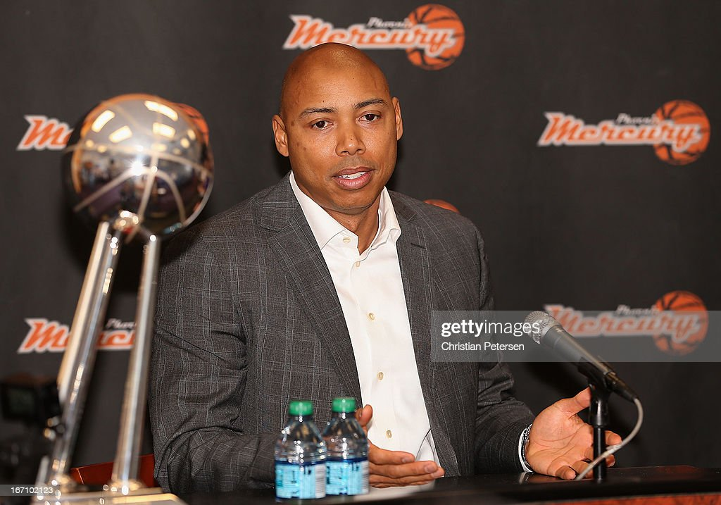 Head coach Corey Gaines of the Phoenix Mercury speaks during a press conference after Brittney Griner (not pictured) was selected as the first pick in the 2013 WNBA Draft at US Airways Center on April 20, 2013 in Phoenix, Arizona.