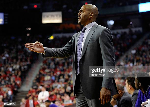 Head coach Corliss Williamson of the Central Arkansas Bears gestures to his players during their game against the UNLV Rebels at the Thomas Mack...