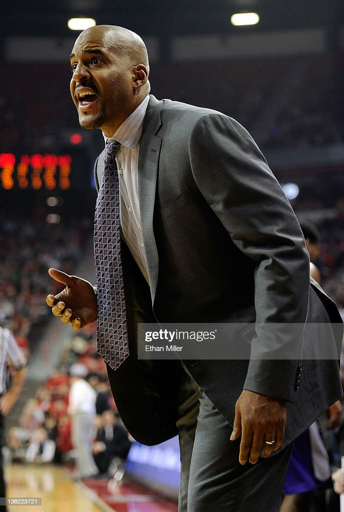 Head coach Corliss Williamson of the Central Arkansas Bears reacts during his team's game against the UNLV Rebels at the Thomas Mack Center December...