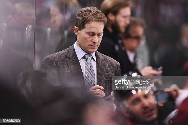 Head coach Cory Clouston of Koelner Haie reacts during the DEL Ice Hockey match between Koelner Haie and Iserlohn Roosters at Lanxess Arena on...