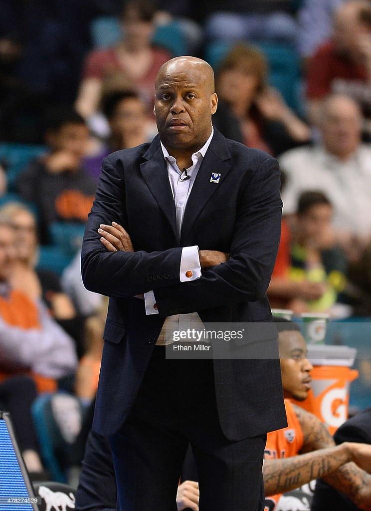 Head coach Craig Robinson of the Oregon State Beavers looks on during a firstround game of the Pac12 Basketball Tournament against the Oregon Ducks...