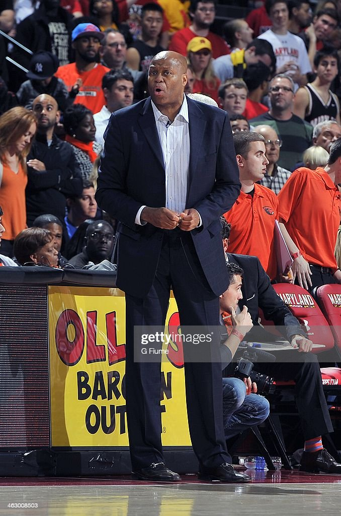 Head coach Craig Robinson of the Oregon State Beavers watches the game against the Maryland Terrapins at the Comcast Center on November 17 2013 in...