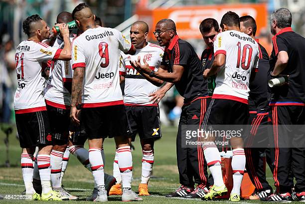 Head coach Cristovao Borges of Flamengo gives advise to his team during the match between Palmeiras and Flamengo for the Brazilian Series A 2015 at...