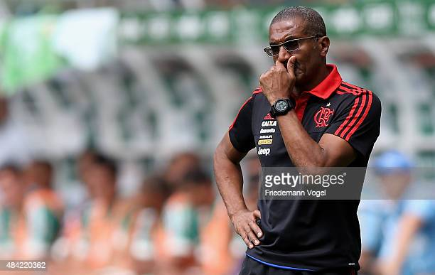 Head coach Cristovao Borges of Flamengo looks on during the match between Palmeiras and Flamengo for the Brazilian Series A 2015 at Allianz Parque on...