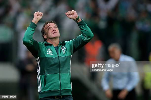 Head coach Cuca of Palmeiras celebrates after winning the match between Palmeiras and Corinthians for the Brazilian Series A 2016 at Allianz Parque...