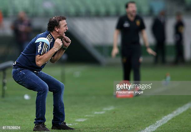 Head coach Cuca of Palmeiras gives advice during the match between Palmeiras and Sport Recife for the Brazilian Series A 2016 at Allianz Parque on...