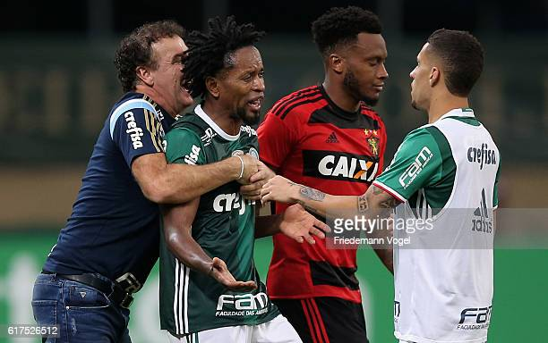 Head coach Cuca of Palmeiras gives advice to Ze Roberto during the match between Palmeiras and Sport Recife for the Brazilian Series A 2016 at...
