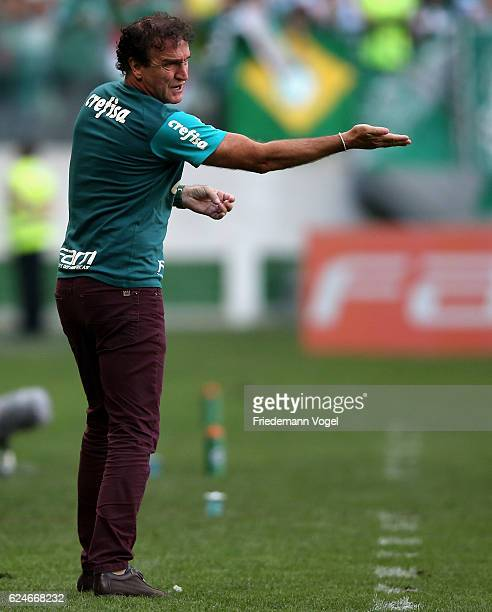 Head coach Cuca of Palmeiras gives advise during the match between Palmeiras and Botafogo for the Brazilian Series A 2016 at Allianz Parque on...