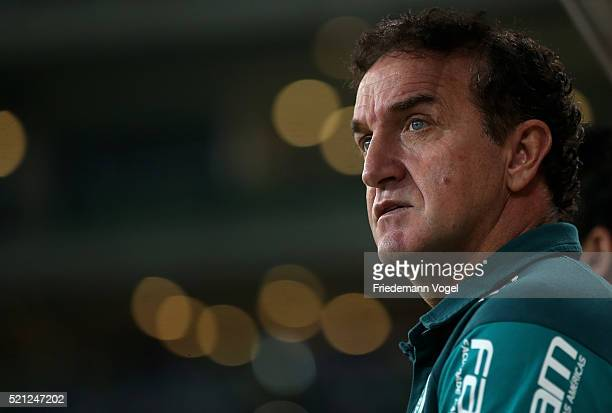 Head coach Cuca of Palmeiras looks on during a match between Palmeiras and River Plate URU as part of Group 2 of Copa Bridgestone Libertadores at...