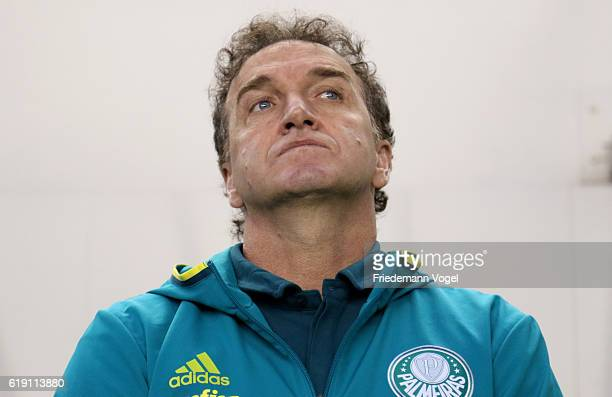 Head coach Cuca of Palmeiras looks on during the match between Santos and Palmeiras for the Brazilian Series A 2016 at Vila Belmiro Stadium on...