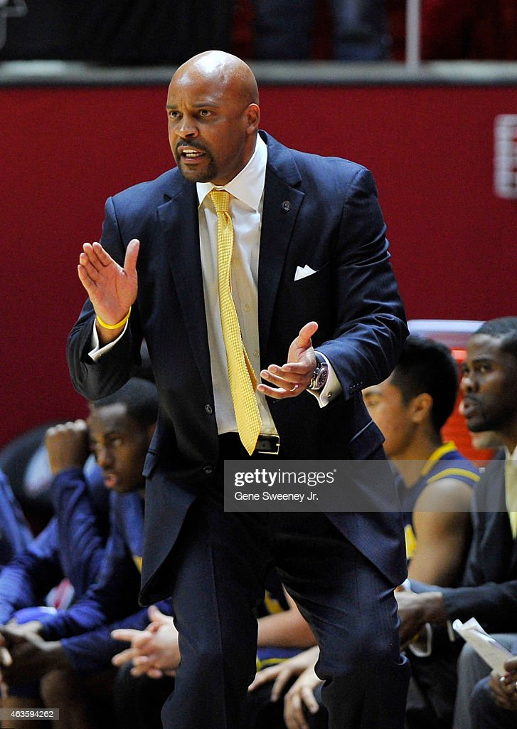 Head coach <a gi-track='captionPersonalityLinkClicked' href=/galleries/search?phrase=Cuonzo+Martin&family=editorial&specificpeople=3911162 ng-click='$event.stopPropagation()'>Cuonzo Martin</a> of the California Golden Bears claps on the sideline during their game against the Utah Utes at the Jon M. Huntsman Center on February 15, 2015 in Salt Lake City, Utah.