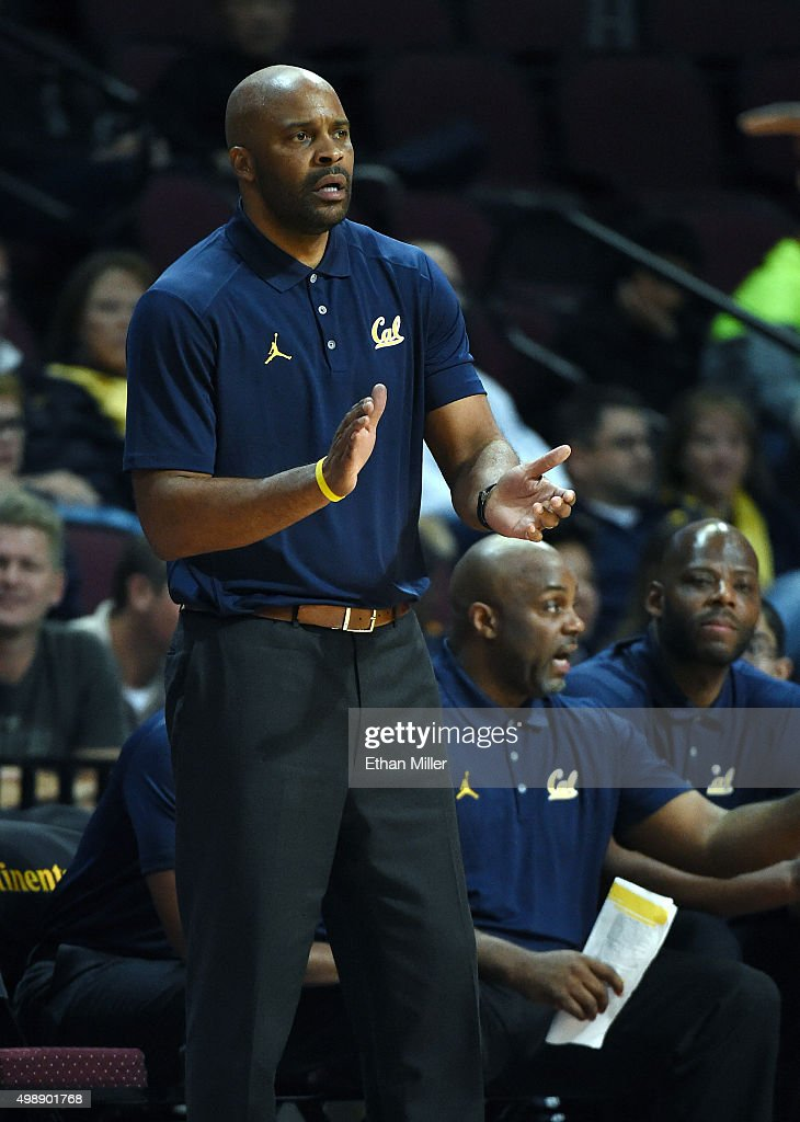 Head coach <a gi-track='captionPersonalityLinkClicked' href=/galleries/search?phrase=Cuonzo+Martin&family=editorial&specificpeople=3911162 ng-click='$event.stopPropagation()'>Cuonzo Martin</a> of the California Golden Bears encourages his players as they take on the San Diego State Aztecs during the 2015 Continental Tire Las Vegas Invitational basketball tournament at the Orleans Arena on November 26, 2015 in Las Vegas, Nevada. San Diego State won 72-58.