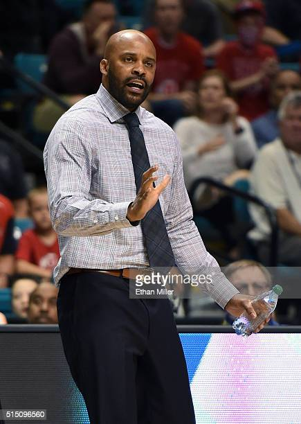 Head coach Cuonzo Martin of the California Golden Bears gestures during a semifinal game of the Pac12 Basketball Tournament against the Utah Utes at...