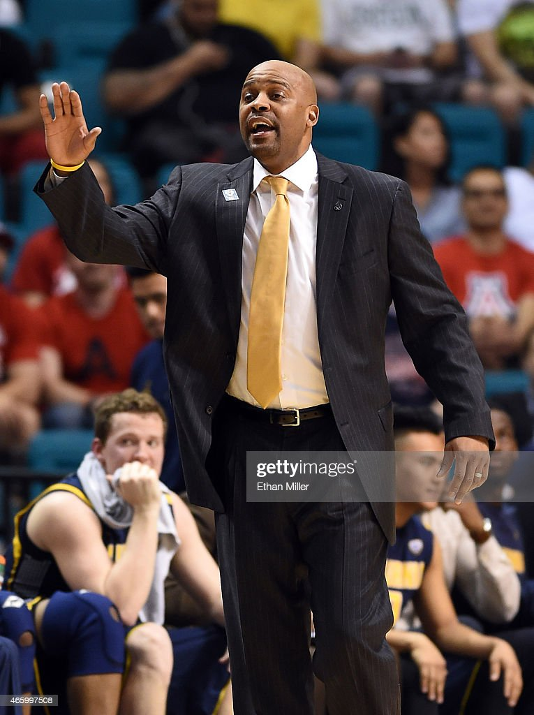 Head coach <a gi-track='captionPersonalityLinkClicked' href=/galleries/search?phrase=Cuonzo+Martin&family=editorial&specificpeople=3911162 ng-click='$event.stopPropagation()'>Cuonzo Martin</a> of the California Golden Bears gestures to his players during a quarterfinal game of the Pac-12 Basketball Tournament against the Arizona Wildcats at the MGM Grand Garden Arena on March 12, 2015 in Las Vegas, Nevada. Arizona won 73-51.