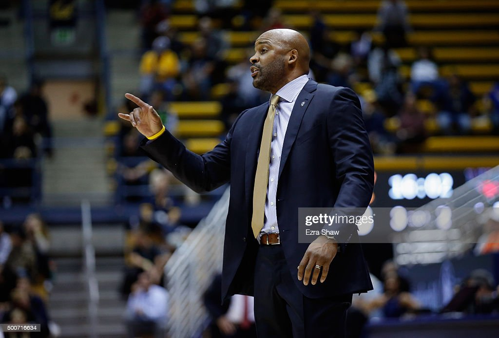 Head coach <a gi-track='captionPersonalityLinkClicked' href=/galleries/search?phrase=Cuonzo+Martin&family=editorial&specificpeople=3911162 ng-click='$event.stopPropagation()'>Cuonzo Martin</a> of the California Golden Bears gives instructions to his team during their game against the Incarnate Word Cardinals at Haas Pavilion on December 9, 2015 in Berkeley, California.