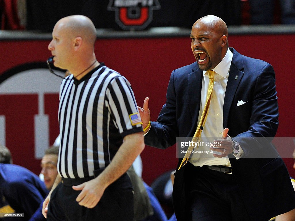 Head coach <a gi-track='captionPersonalityLinkClicked' href=/galleries/search?phrase=Cuonzo+Martin&family=editorial&specificpeople=3911162 ng-click='$event.stopPropagation()'>Cuonzo Martin</a> of the California Golden Bears reacts to a first half call during their game against the Utah Utes at the Jon M. Huntsman Center on February 15, 2015 in Salt Lake City, Utah.