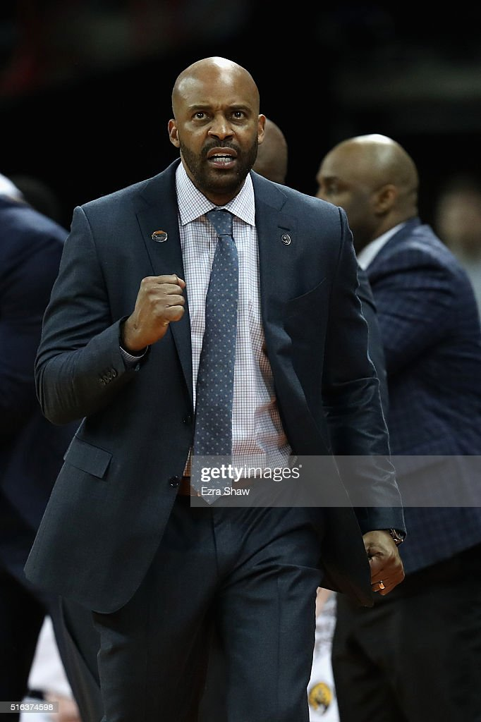 Head coach <a gi-track='captionPersonalityLinkClicked' href=/galleries/search?phrase=Cuonzo+Martin&family=editorial&specificpeople=3911162 ng-click='$event.stopPropagation()'>Cuonzo Martin</a> of the California Golden Bears reacts to a play in the second half against the Hawaii Warriors during the first round of the 2016 NCAA Men's Basketball Tournament at Spokane Veterans Memorial Arena on March 18, 2016 in Spokane, Washington.