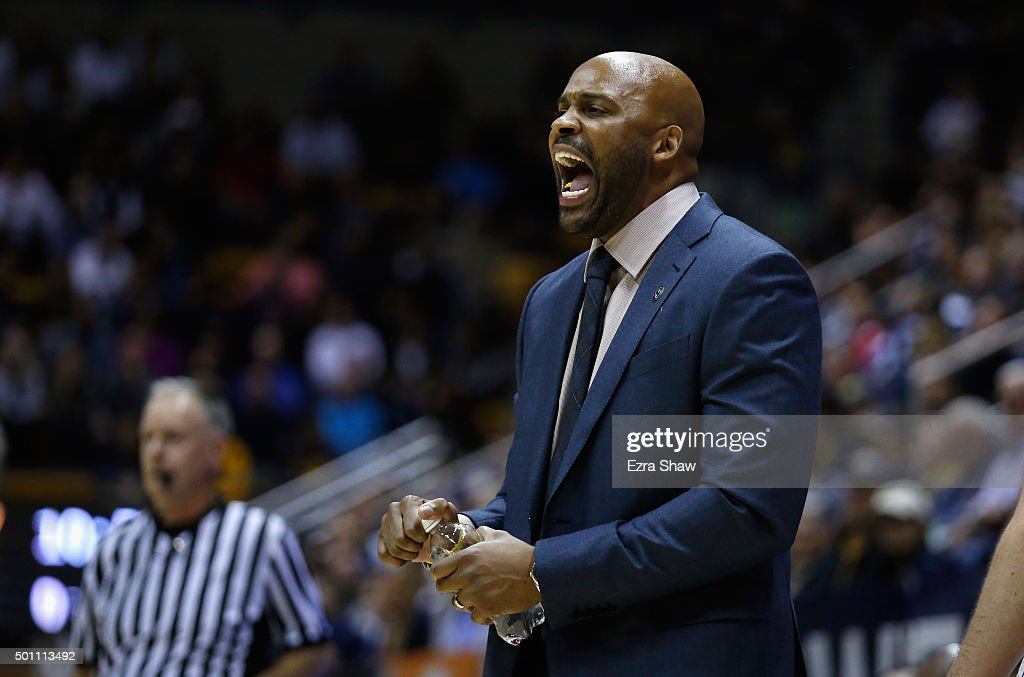 Head coach <a gi-track='captionPersonalityLinkClicked' href=/galleries/search?phrase=Cuonzo+Martin&family=editorial&specificpeople=3911162 ng-click='$event.stopPropagation()'>Cuonzo Martin</a> of the California Golden Bears shouts to his team during their game against the St. Mary's Gaels at Haas Pavilion on December 12, 2015 in Berkeley, California.