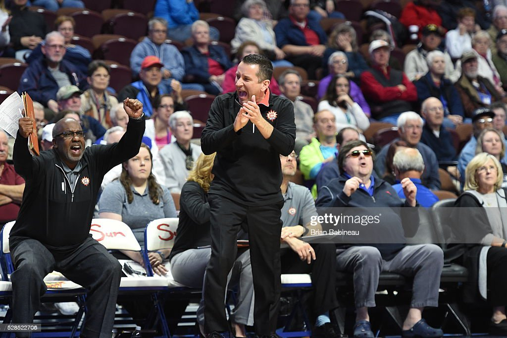 Head Coach Curt Miller of the Connecticut Sun celebrates during the game against the San Antonio Stars in a WNBA preseason game on May 5, 2016 at the Mohegan Sun Arena in Uncasville, Connecticut.