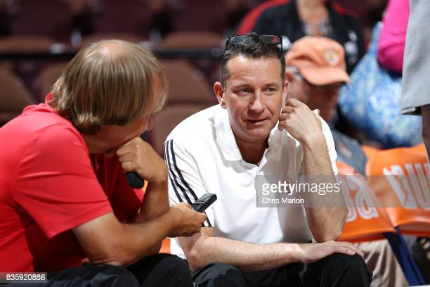 Head coach Curt Miller of the Connecticut Sun is interviewed before the game against the Phoenix Mercury on August 20 2017 at Mohegan Sun Arena in...