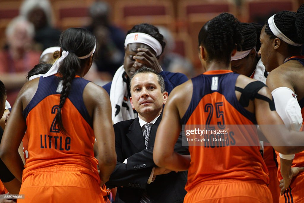 Head coach Curt Miller of the Connecticut Sun talks to his players during a time out during the Los Angeles Sparks Vs Connecticut Sun, WNBA regular season game at Mohegan Sun Arena on May 26, 2016 in Uncasville, Connecticut.
