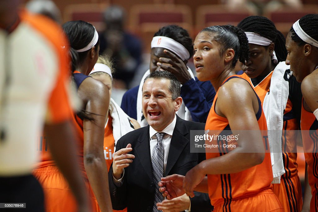 Head coach Curt Miller on the sideline during the Los Angeles Sparks Vs Connecticut Sun, WNBA regular season game at Mohegan Sun Arena on May 26, 2016 in Uncasville, Connecticut.