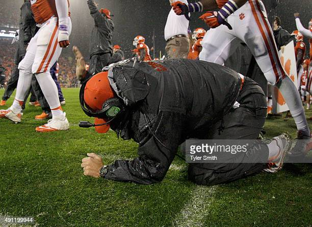 Head Coach Dabo Swinney of the Cemson Tigers celebrates after Notre Dame was stopped on a twopoint conversion during the game at Clemson Memorial...