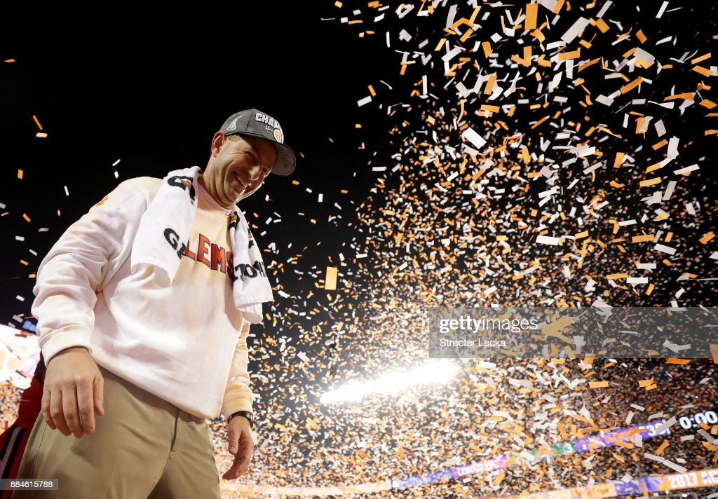 Head coach Dabo Swinney of the Clemson Tigers celebrates after defeating the Miami Hurricanes 38-3 in the ACC Football Championship at Bank of America Stadium on December 2, 2017 in Charlotte, North Carolina.