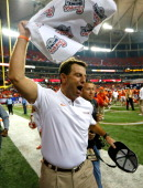 Head coach Dabo Swinney of the Clemson Tigers celebrates their 2524 win over the LSU Tigers during the 2012 ChickfilA Bowl at Georgia Dome on...