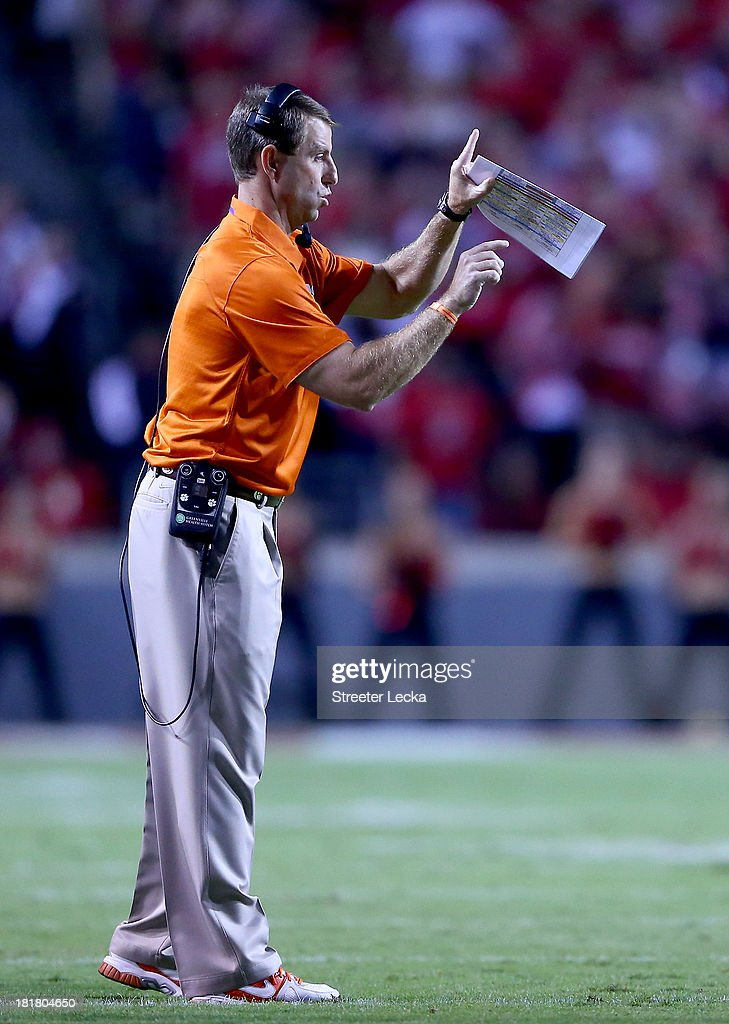 Head coach Dabo Swinney of the Clemson Tigers during their game at Carter-Finley Stadium on September 19, 2013 in Raleigh, North Carolina.
