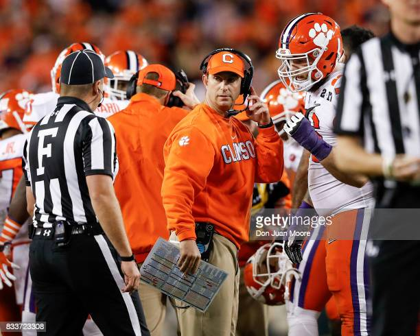 Head Coach Dabo Swinney of the Clemson Tigers on the sidelines during the 2017 College Football Playoff National Championship Game against the...