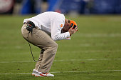 Head coach Dabo Swinney of the Clemson Tigers reacts after a play against the North Carolina Tar Heels during the Atlantic Coast Conference Football...