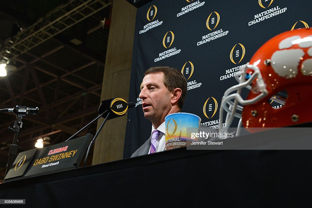 Head coach Dabo Swinney of the Clemson Tigers talks to the media during Media Day for the College Football Playoff National Championship at Phoenix...