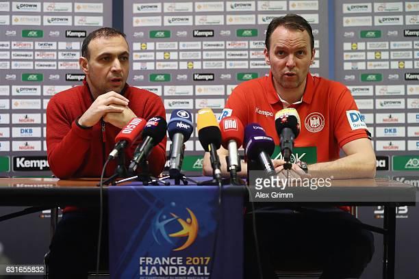 Head coach Dagur Sigurdsson and Bob Hanning Vice President of the German Handball Federation DHB attend a Germany press conference at Novotel Rouen...