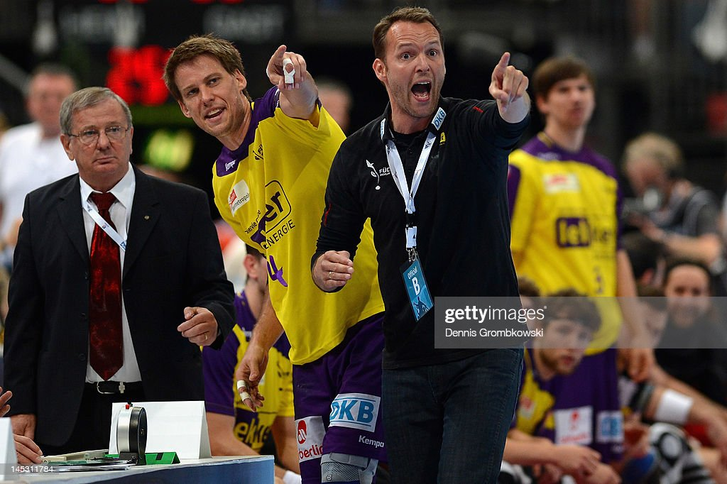 Head coach Dagur Sigurdsson of Berlin reacts during the EHF Final Four semi final match between Fuechse Berlin and THW Kiel at Lanxess Arena on May 26, 2012 in Cologne, Germany.