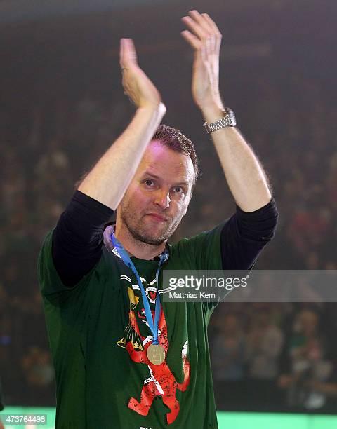 Head coach Dagur Sigurdsson of Berlin shows his delight after winning the EHF Cup 2015 final match between Fuechse Berlin and HSV Handball at Max...