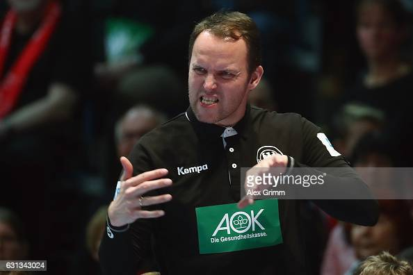 Head coach Dagur Sigurdsson of Germany reacts during the international handball friendly match between Germany and Austria at RothenbachHalle on...