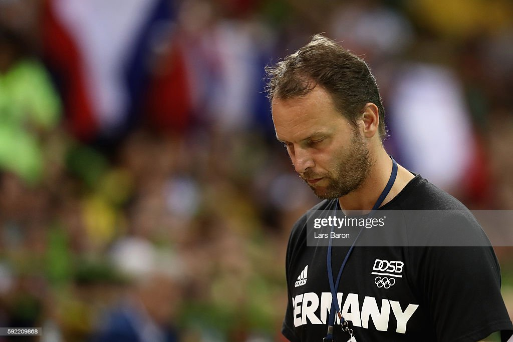 Head coach Dagur Sigurdsson of Germany reacts during the Men's Handball Semifinal match between France and Germany on Day 14 of the Rio 2016 Olympic...