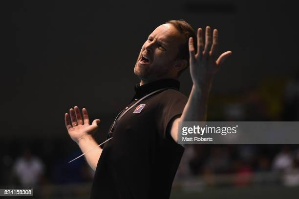 Head coach Dagur Sigurdsson of Japan reacts during the men's international match between Japan and South Korea at Komazawa Gymnasium on July 29 2017...